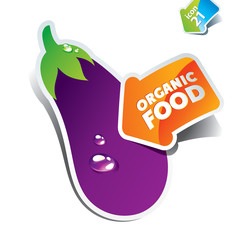 Icon eggplant with an arrow by organic food. Vector illustration