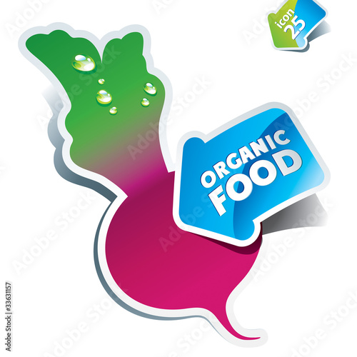 Icon beet with arrow by organic food. Vector illustration.