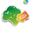 Icon broccoli with arrow by organic food. Vector illustration