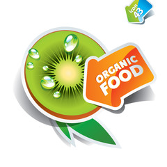 Icon kiwi with arrow by organic food. Vector illustration.