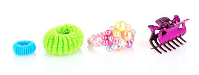 Barrette and Scrunchy  isolated on white