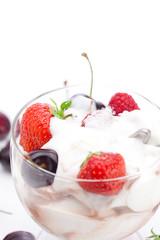 ice cream, cherries, raspberries and strawberries isolated on wh