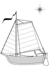 Vector Sailing vintage boat (dinghy) -  contour