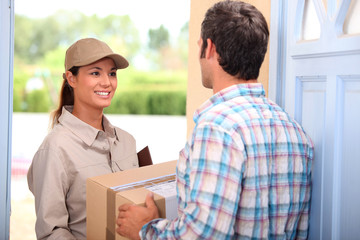 Woman delivering parcel