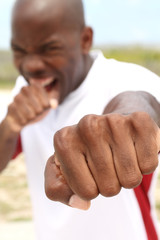 Punching at the camera - focus on fist