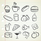 sketchy food icon poster
