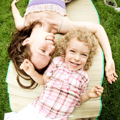 Woman and child having fun