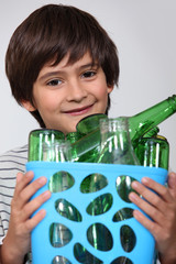 Boy with empty bottles