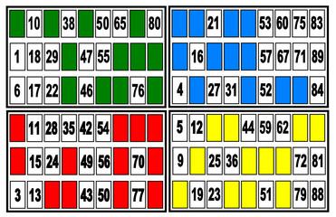 Carte de loto et bingo