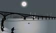 two fishermen under bridge