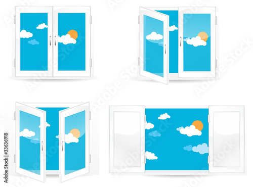 set of open and close blue windows isolated on white