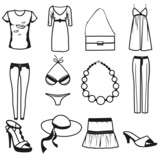 Women clothes and accessories summer icon set