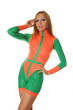 Pretty Sporty Girl in Orange Green Fashion SwimSuit