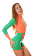 Pretty Sporty Girl in Orange Green Fashion SwimSuit