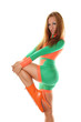 Sporty Girl in Orange Green Fashion SwimSuit and Ballet Boots