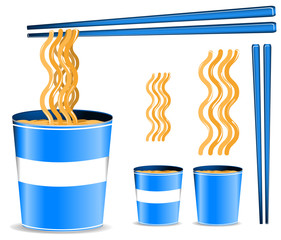 set of blue noodle cup with chopsticks isolated on white