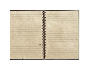 recycled paper open notebook on white