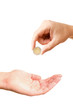 Hand giving coin to asking hand