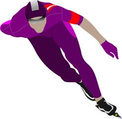 Speed skating. Vector illustration