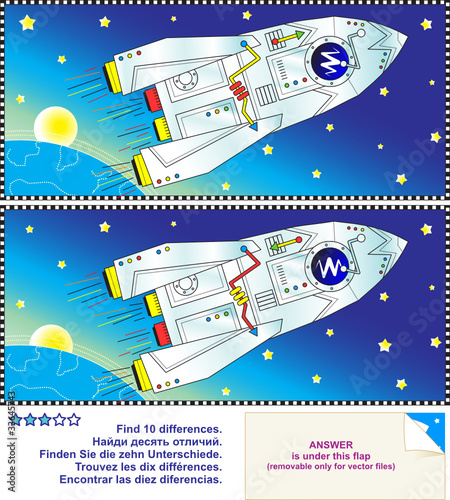 Fotobehang Kosmos Find the differences puzzle - space, rocket, Earth and stars
