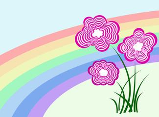 Flower-cloud with rainbow