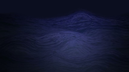 Mystical dark blue ocean waves