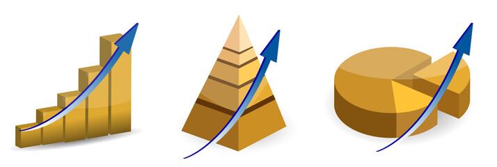 Raising pie, pyramid and bar charts