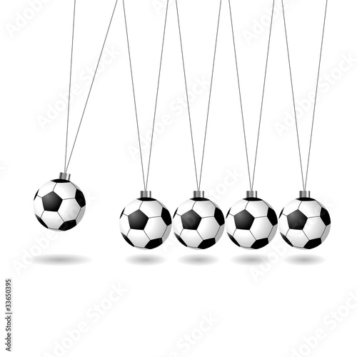Newtons cradle with soccer balls over white background