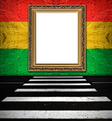 old  elegant golden frame on red yellow green traffic lights  pl