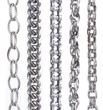 collection of metal chain parts on white background