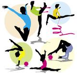 set vector silhouettes rhythmic gymnastics poster