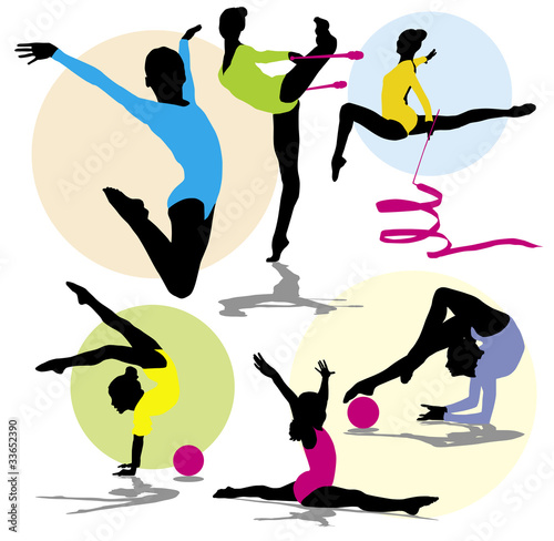 poster of set vector silhouettes rhythmic gymnastics