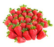 A lot of sweet and juicy strawberries isolated on white