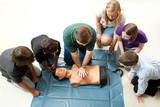 Group of Teens Take CPR Class poster