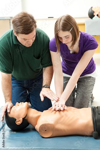 Teen Girl Practices CPR