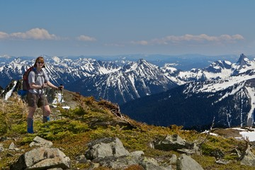 Woman Hiking in Mt. Rainier National Park