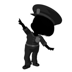 Little Police Girl Illustration Silhouette