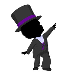 Little African American Top Hat Girl Illustration Silhouette