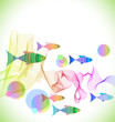 Tender colorful background with fish