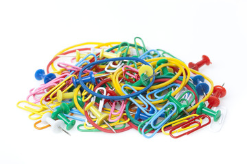 A group of colorful office supplies