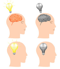 set of head profile with brain and light bulb isolated on white