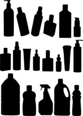 bottles and products silhouette