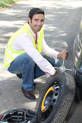 Changing the wheel on a car