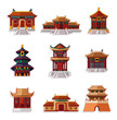 cartoon Chinese house icon set.