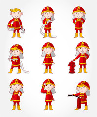 cartoon Fireman icon set.