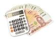 1000 baht banknotes and calculator