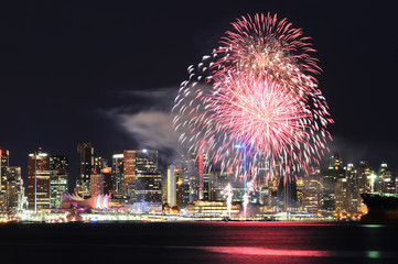 Canada Day fireworks in Downtown Vancouver
