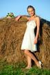 woman near haystack