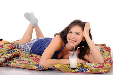 woman drink milk