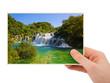 Krka waterfall (Croatia) photography in hand